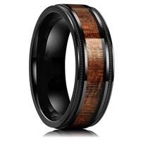 8mm stainless steel wood grain epoxy craft tungsten steel ring fashion creative jewelry for anniversary gift