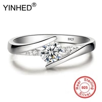 has silver certificate yinhed 100 925 sterling silver ring 0 5ct cz diamant wedding rings for women fine jewelry zr327