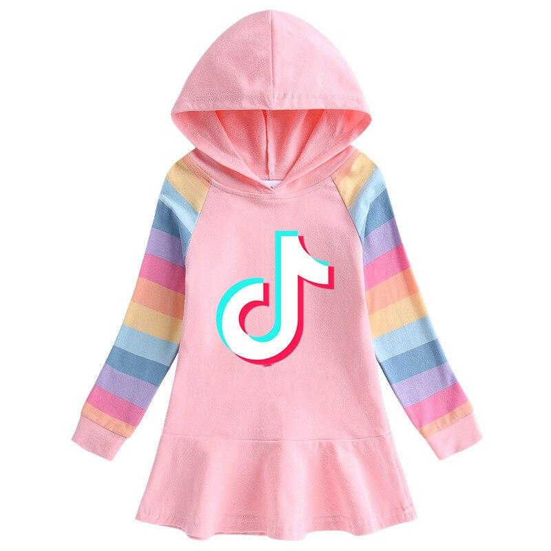 2020 tok-tok otoño nuevo vestido de niñas Algodón puro manga larga de dibujos animados arco iris con capucha suéter vestido niño Navidad vestido