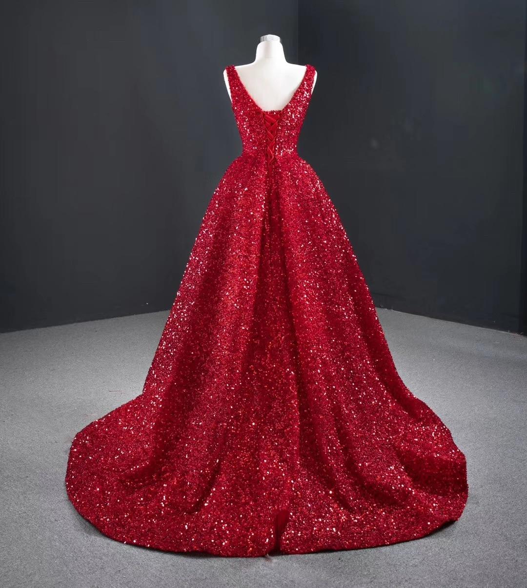Elegant Red Evening Dress Fashionable Women sequin Dresses Short in Front Long in Back Prom Dress