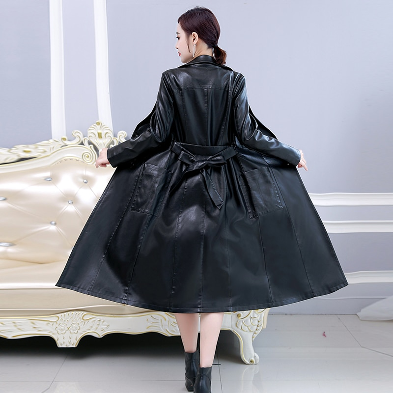 X-Long Faux Leather Jacket Women Plus Size 5XL Autumn Winter Turn-down Collar Long Coat with Belf Fashion Leather Trench Coat enlarge