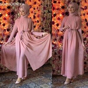 New Arrival High Neck Long sleeve evening dresses 2021 Chiffon Caftan Dubai Muslim dress women Evening gown Robes de soirée