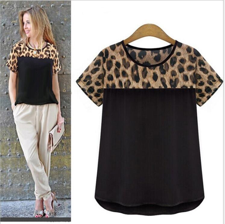 Blusas Femininas New Fashion Chiffon Leopard Pathwork O-Neck Women Blouses short Sleeve Casual Sexy Summer Blouse  Plus Size