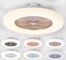 Moderne minimaliste Ultra-mince plafonnier ventilateur lumière plafond nordique Restaurant chambre Led ventilateur de plafond lampe à distance gradation lampe