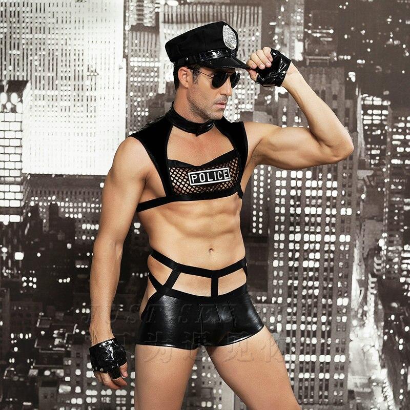 Marca Jimiko, uniforme de policía Sexy para hombres, uniforme de Cosplay negro, lencería erótica de PU, disfraz de hombre para Halloween, lencería, juego de rol, policía Sexy