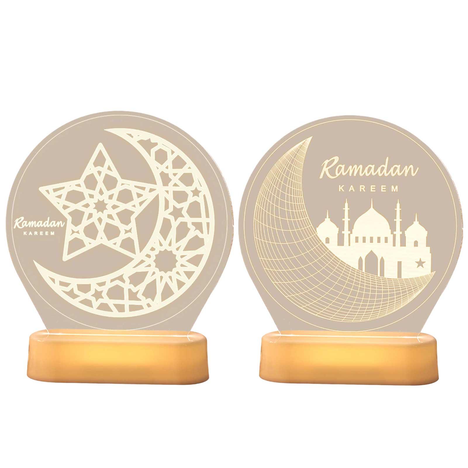 Eid Mubarak ночник круглой формы мусульманский 3D декоративный светильник украшение декоративные подарки Луна Звезда дворец узорные фонари