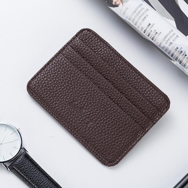 Cartera minimalista delgada de moda Unisex de cuero PU duradero Portable con ranuras para tarjetas de crédito monedero corto 11x8.5x0.3CM