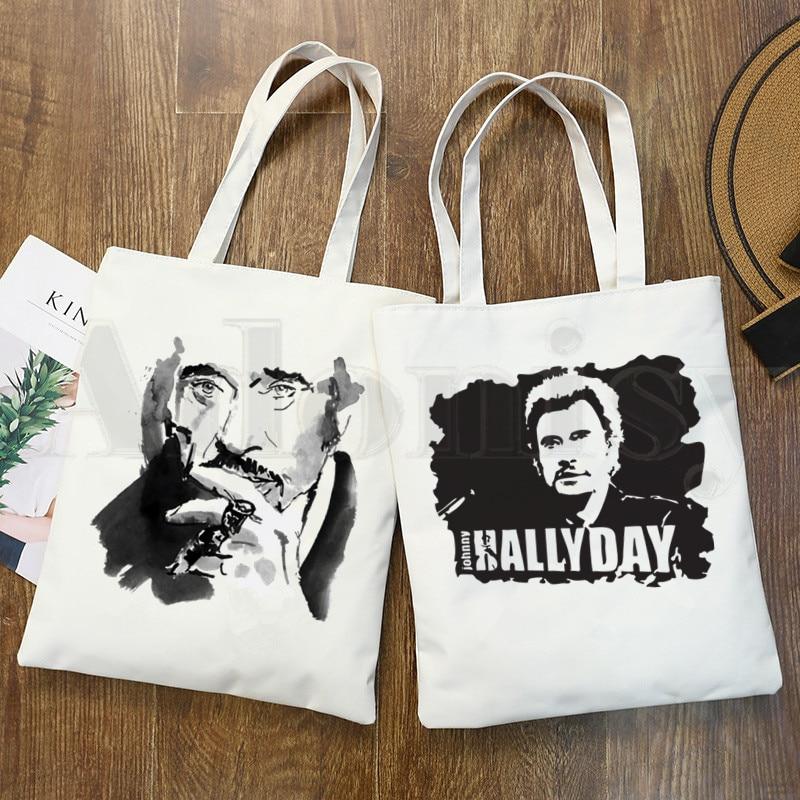 Johnny Hallyday estrella de Rock cantante francés música hombro bolsas de lona de gran capacidad de la Universidad bolso Harajuku mujer bolsa de la compra