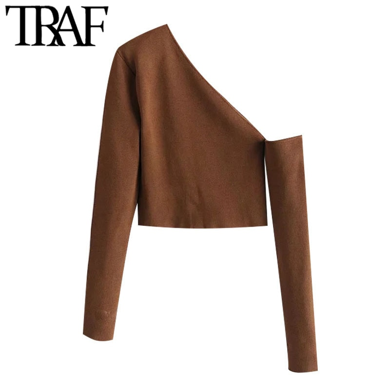 TRAF Women Fashion Hollow Out Cropped Knitted Sweater Vintage Asymmetric Neck Long Sleeve Female Pullovers Chic Tops
