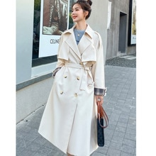British Style Double-Breasted Long Belt Trench Coat For Women Loose Korean Windbreaker Lady Spring A