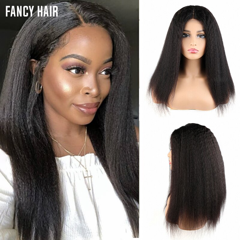 Kinky Straight Wig  Brazilian Hair 4x4  Lace Closure Wig 180% Lace closure wig  Gluless preplucked Yaki Straight Human Hair Wig