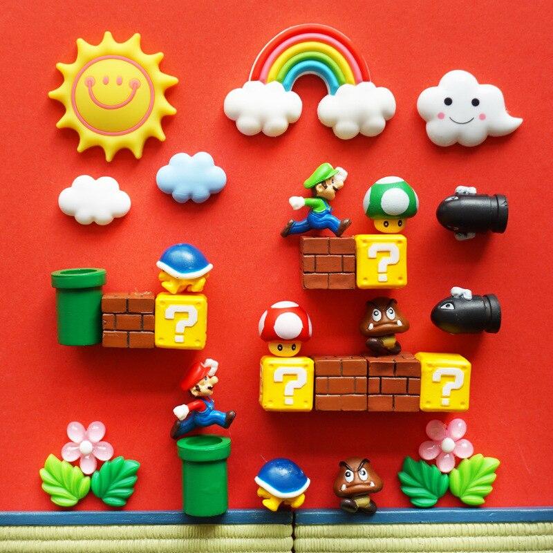 Оригинальные 3D магниты на холодильник Super Mario для детей, милые и забавные декоративные магниты для шкафчика на холодильник, для кухни, украше...