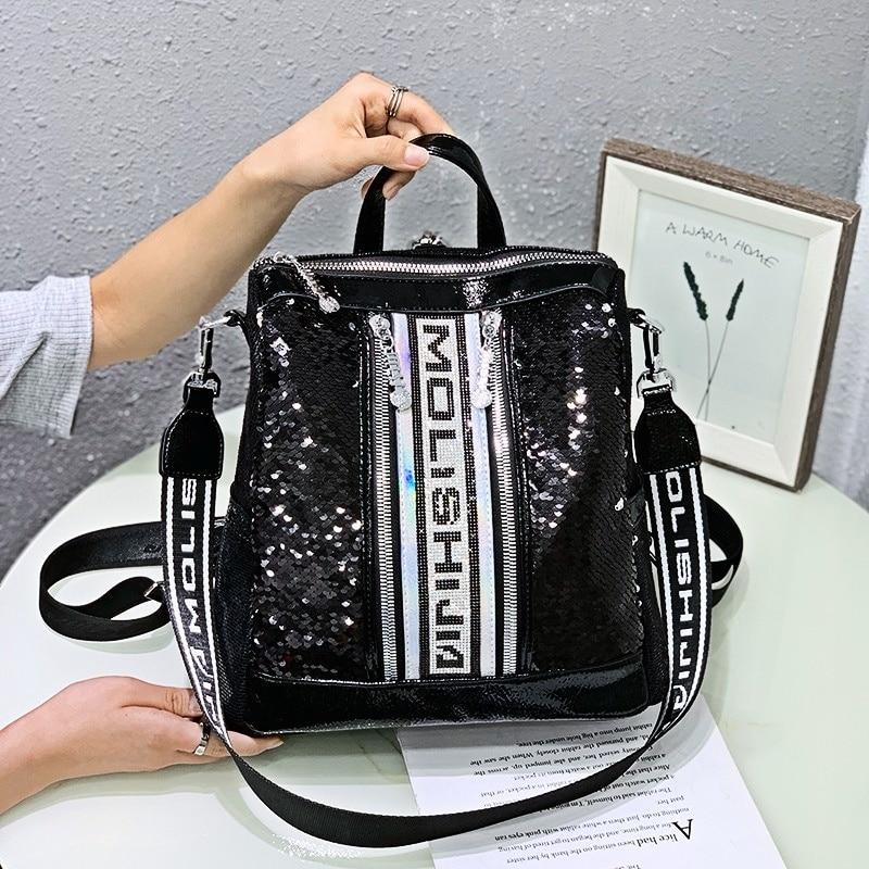 Sequines Bagpack 2021 New Luxury Women Backpack Purse Shoulder Bag Teen Girl School Sac A Dos Mochilas Female