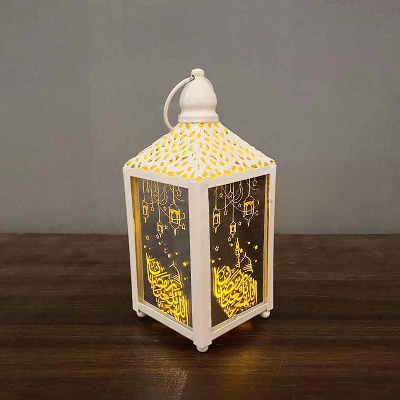 Ramadan Eid Al-Fitr Mubarak Decoration Crescent Moon Star Lantern New Led Lights Festival Party Supplies
