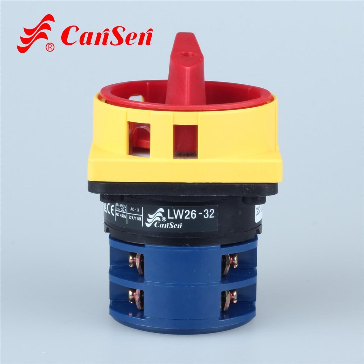 LW26GS-32/04-2 candado interruptor de cámara giratorio Ith 32A apagado 0-1 2 posiciones 4 polos 8 terminales 64*64mm