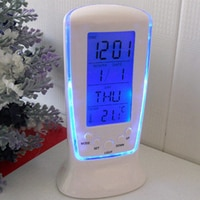 Светодиодный синий световой цифровой мини-настольные часы с электронный календарь термометр Светодиодный Настольные часы 7 звуков будильн...