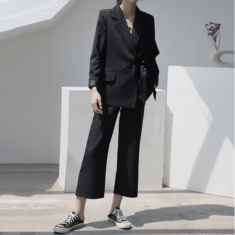 LANMREM 2020 Neue Frühjahr Sommer Temperament Casual Anzug Hosen Set Frauen Büro Dame Blazer Hosen Mode Flut PD958