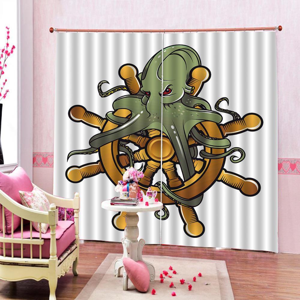 Custom All Size arte de dibujos animados Tribal Kraken pulpo criatura mar cortina para sala de estar cortinas opacas para dormitorio Sets