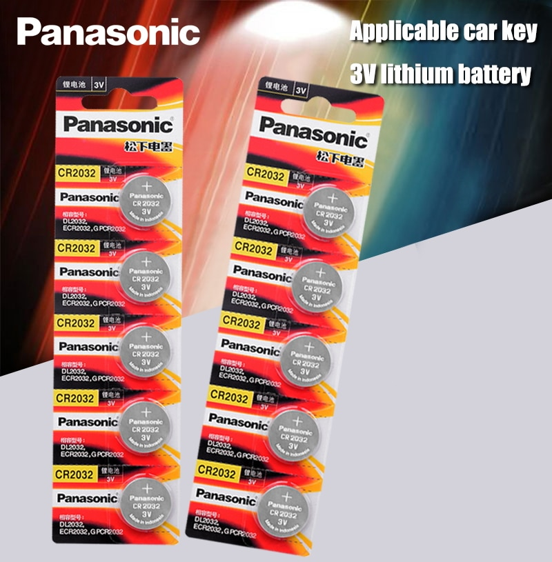 Panasonic Original 10pcs/lot cr 2032 Button Cell Batteries 3V Coin Lithium Battery For Watch Remote