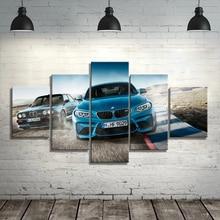 Холст Печатный плакат домашний Декор 5 шт. HD Bmw M3 синие спортивные картины с автомобилями настенные художественные картины гостиная модульн...