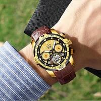 TEVISE Tourbillon Men Luxury Top Brand Automatic Mechanical Watch Fashion Business Male Watch Vintage Clock Luminous Wristwatch