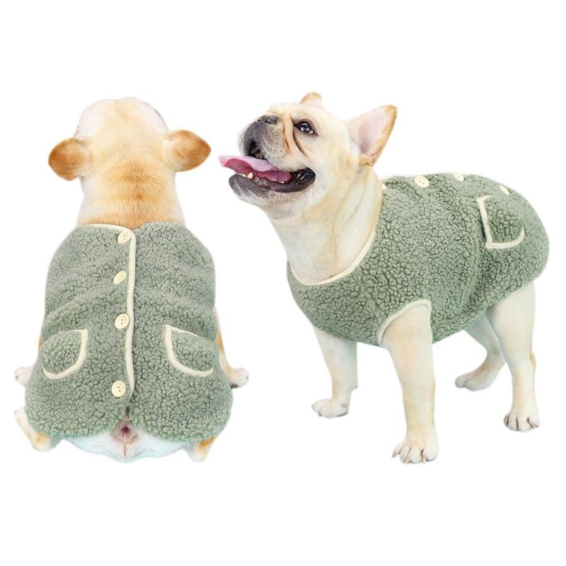 Ropa de invierno para perros, chaleco polar cálido para cachorros, abrigo con botones para Chihuahua, ropa para mascotas para perros pequeños y medianos, abrigo con Bulldog francés #