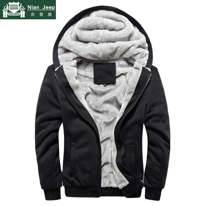 Moda Inverno Grosso Hoodies Dos Homens Casual Com Capuz Forro de Lã Quente Camisola Homens Zipper Casacos S-5XL Sudadera Hombre Plus Tamanho DA UE