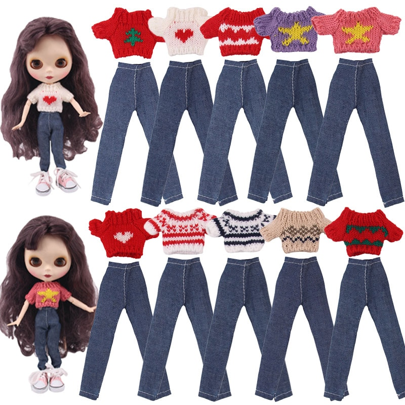 Blyth Doll Clothes 1 Set Clothes=Sweater+Jeans For BJD 30Cm 1/6 Blythe Doll Dress For Generation Girl`s Christmas Russia Toy DIY недорого