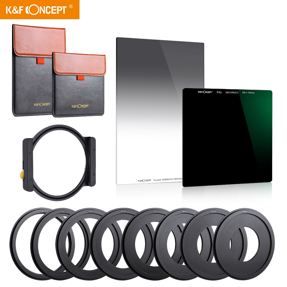K&F Concept Square Filter 100x150mm ND1000 And 100*100mm ND8  lente nd com cokin z with Metal Holder Set