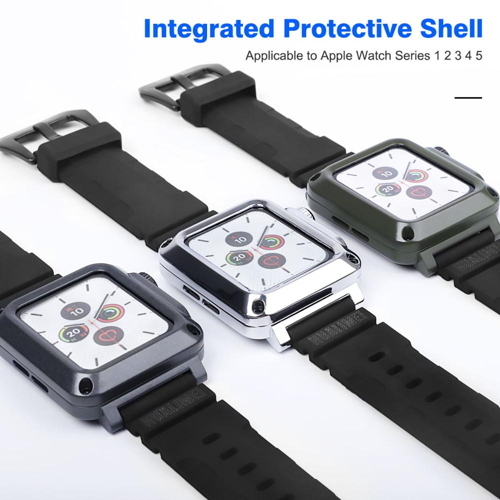 Metal All-round Protective Shell for Iwatch SE 6 5 4 40mm 44mm Men's Metallic Case+band for Apple Watch 3 2 1 38mm 42mm Case enlarge