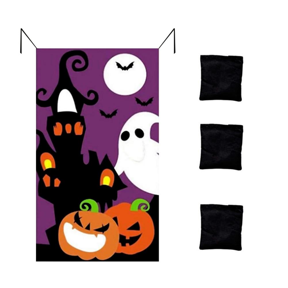 Cortina colgante de calabaza, juego de lanzamiento, Bandera de fieltro, con 3 bolsas de frijoles para adultos, suministros y decoraciones para fiestas de Halloween para niños, novedad