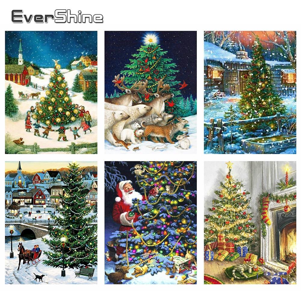 Evershine 5D, pintura de diamantes Navidad, árbol, Kit de punto de cruz, bordado de dibujos animados, imágenes de diamantes de imitación, decoración de Navidad para el hogar
