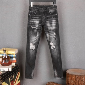 2021NEW  Men's pants Dsquare ripped patch painted varnished men's   Hole in the street d2  jeans