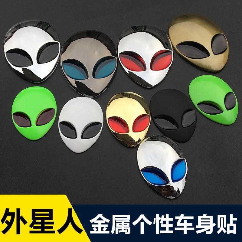 1Pcs Metalen 3D Alienware Alien Hoofd Auto Logo Sticker Vinyl Badge Auto Decals Grafische Hoge Kwaliteit Auto Styling Auto accessoires