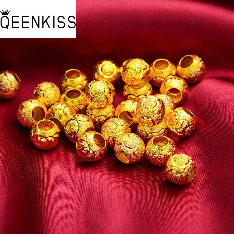 QEENKISS PT508 תכשיטים סיטונאי אופנה חמה אישה ילדה אמא יום הולדת מתנה לחתונה מזל כדור 24KT זהב תליון קסם