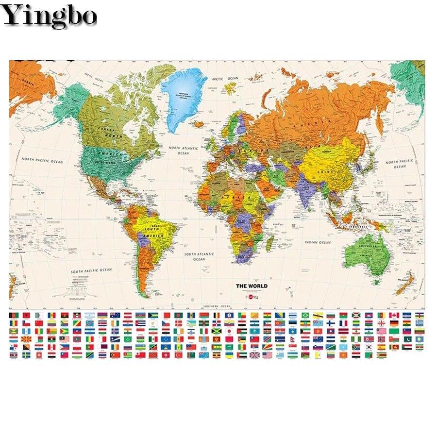 5d diy pintura diamante mapa do mundo imagens quadrado completo redondo diamante mosaico bordado strass decoração da parede do escritório arte