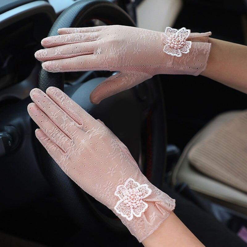 Guantes de encaje fino para mujer, guante corto Suncreen, guantes de verano para ciclismo al aire libre, guantes antideslizantes de algodón para conducir, guante de pantalla táctil