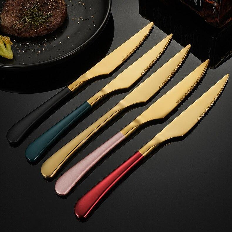6 قطعة الفولاذ المقاوم للصدأ شريحة لحم سكين مع مقبض طويل سميكة الغربية سكين الغربي الطعام أدوات المائدة مجموعتين هي 10% قبالة