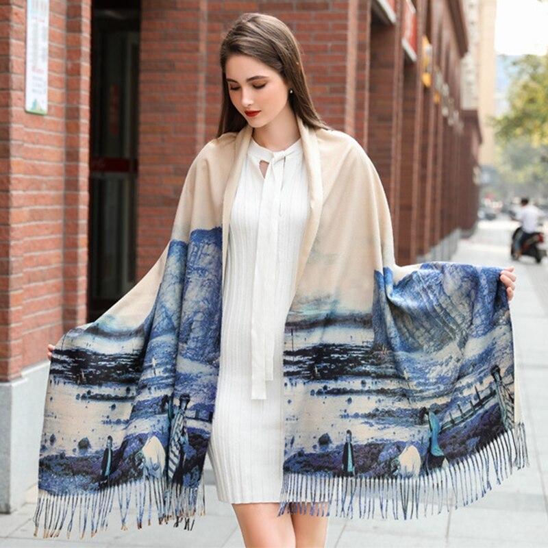 Pintura al óleo, bufandas, chales, bufanda de invierno para damas, manta, Shaw, elegantes chales de noche para mujeres, chales de Cachemira de lujo