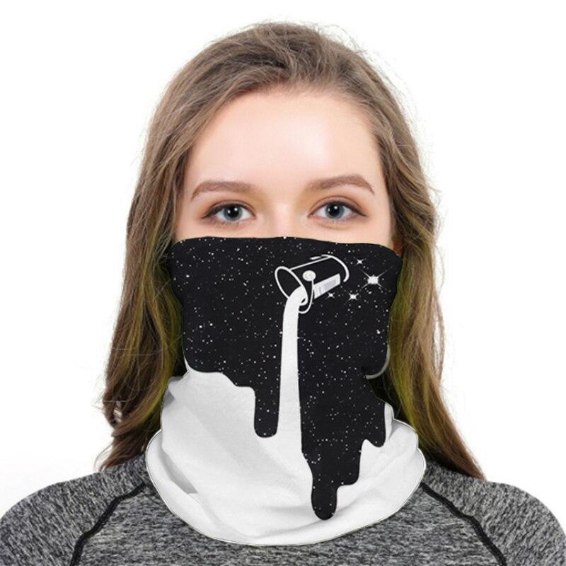 Blanco y Negro Vertigo Hypnotic hombres cara cubrir cuello Anti-polvo cinta pasamontañas medio rostro espacio divertido bufanda de moda