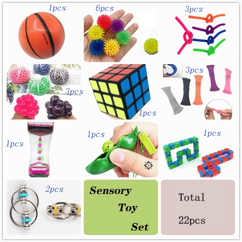 Squeeze Toy Set Combination 22 Pieces Extrusive-Solving Fidget Kids Toys  Hot Selling Various Styles Toy Set Wholesale