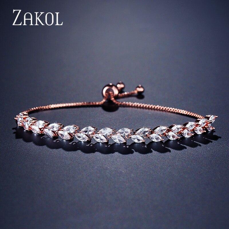 ZAKOL Trendy Bride Jewelry Clear CZ Crystal Leaf Charm Cubic Zirconia Adjustable Chain Bracelets For Women FSBP2041