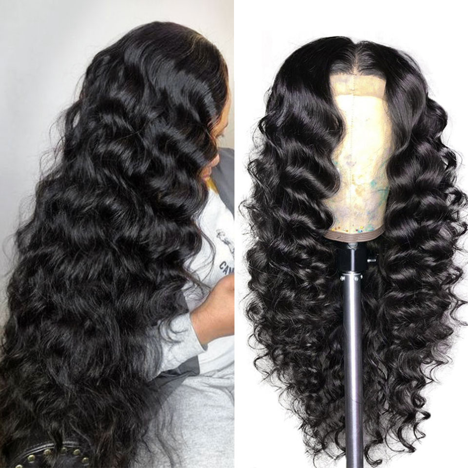 28 30 inch Loose Deep Wave Lace Front Wig 13x4 Human Hair Lace Frontal Wigs For Women 180 Density 4x4 Clsure Wig Preplucked Remy