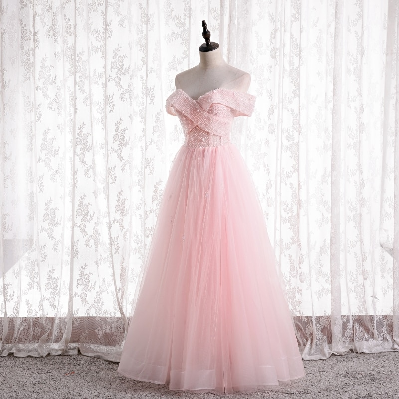 Off the Shoulder Pink Bridesmaid Dresses Lace-up Back Soft tulle with Beading Wedding Party Gowns