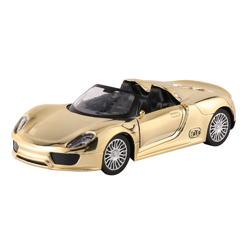 Alloy Sports Car Toy Model Gold Diecasts Off-Road Simulation Children Play Toy Open the Door Vehicles for Kids Gift