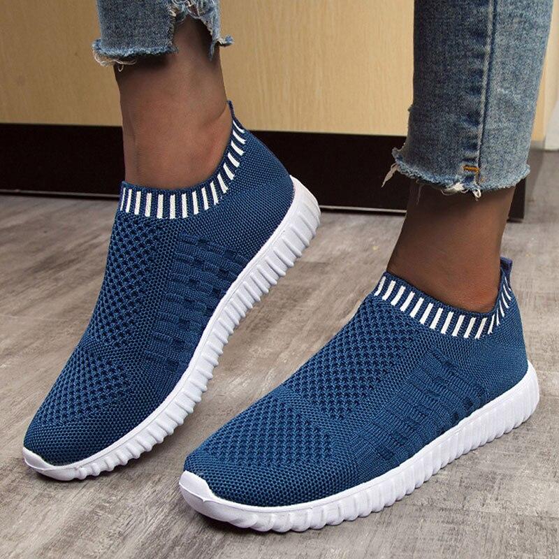 Sapatos femininos 2020 cor sólida dedo do pé redondo luz confortável respirável casual sapatos femininos tênis meias sapatos plus size