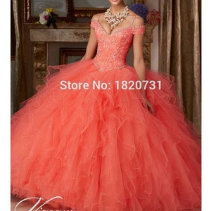 Luxury Ruffles Appliques Beading Spaghetti Strap Ball Gown Coral Quinceanera Dresses Sweet 15 Dresses Vestidos De Quinceanera