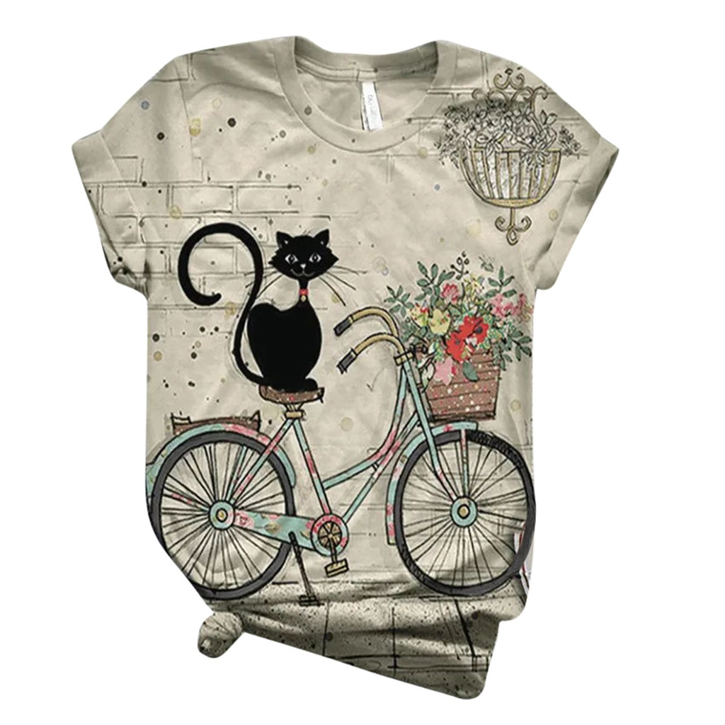 tops women 2021 Plus Size Women Short Sleeve 3D Animal Printed O-Neck Tops Tee T-Shirt Blouse mujer camisetas 10% off for 2PC