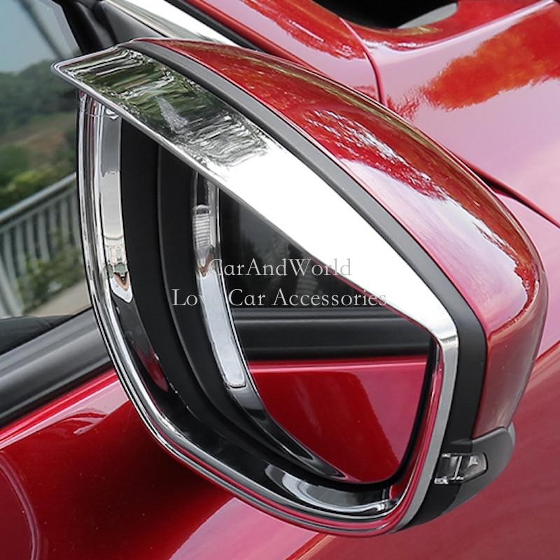 For 2019 2020 Mazda 3 Side Door Rear View Mirror Rain Eyebrow Trims Cover Molding Frame Carbon Fibre Decoration Car Accessories