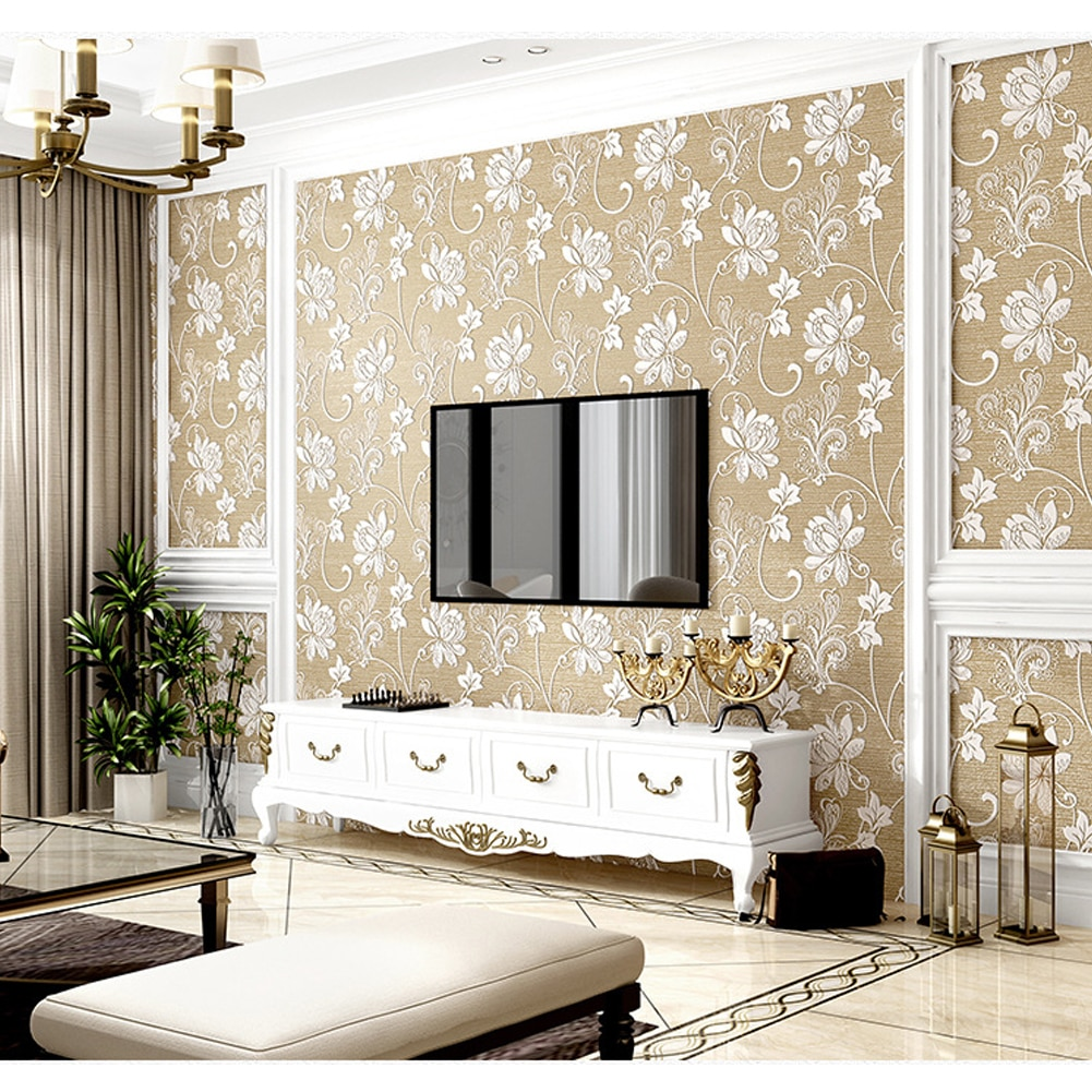 american style bedroom wall covering modern vintage pink floral wallpaper blue tropical butterfly birds flower wall paper 3D Floral Wallpaper Roll Embossing Flower American Vintage Background Wall Paper Home Decor Bedroom Living Room Decoration